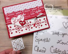 Valentine card idea stamped with Stampin' Up! Love Sparkles stamp set, and die cut with heart image from the Window Box thinlit die set. Red and White patterned paper from Sending Love paper stack.  by Patty Bennett