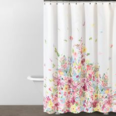 I need to girly up the bathroom!  DKNY Watercolor Bouquet 70' W x 72' L Fabric Shower Curtain - Bed Bath & Beyond
