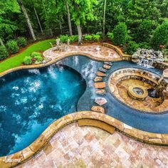The World's Greatest Pools are built with Pebble Tec pool finishes. View a gallery of gorgeous pools featuring a variety of our pebble pool finishes. Pool Spa, Swimming Pools Backyard, Swimming Pool Designs, Pool Landscaping, Lazy River Pool, Backyard Pool Designs, Backyard Patio, Garden Tub Decorating, Piscina Interior