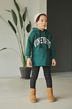 Kids Clothing Top Hoodie Green VineYard Warm Made in Korea