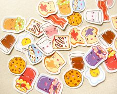 Cute Breakfast Sticker Pack of 30 - Kawaii Toast Bacon Eggs Planner Stickers, Calendar Tabs, Cute Food Stationery, PB&J, Milk and Cereal SO CUTE!!!!