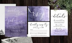 In LOVE with the Pantone color of the Year, Ultra Violet? Me too! This is a beautiful purple / ultra violet watercolor invitation suite, including the invitation, RSVP card, detail card, and anything else you may need! Want a custom color? I can do that too! This is a personalized