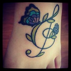 My tattoo :D  music tattoo  butterfly tattoo  treble clef
