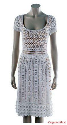 . Белое  платье. Безотрывное вязание+