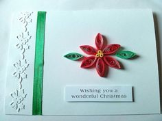 Quilled poinsettia Christmas card by KaisCards on Etsy, £3.00