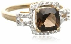Sterling Silver with Yellow Gold Plated Smokey Quartz and Diamond-Accented Ring, Size 7