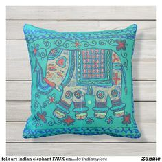 folk art indian elephant FAUX embroidery Outdoor Pillow