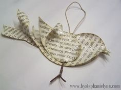 under the table and dreaming: recycled book page bird ornament {no.2}