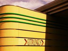 Streamlined Art Deco/Art Moderne Employees Entrance | Flickr - Photo Sharing! Streamline Art, Streamline Moderne, Building Design, Art Deco Fashion, Art Nouveau, Entrance, Neon Signs, Ontario, Hamilton