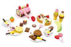 Houten high tea set, sweetbox, houten eetset uitgebreid met theekopjes, taart, chocolade, snij eten 39-delig
