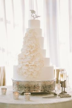 Gorgeous white cake with sugar flowers!