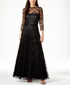 Tahari ASL Illusion Lace Beaded Gown