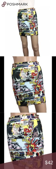 Comic strip bodycon skirt Extremely good condition - no signs of wear. Comic book stop bodycon skirt. Size tag and bran on interior was snipped out but fits like an XS in my opinion.  Not see through. Smoke free environment. Mannequin measurements:  height - 5'8 Bust - 32 waist - 24.5 hips - 32  I have no control over fit. If you have concerns please ask for measurements or look up this brand name's size chart via google before purchase to avoid negative feedback/an unhappy buyer. I cannot…