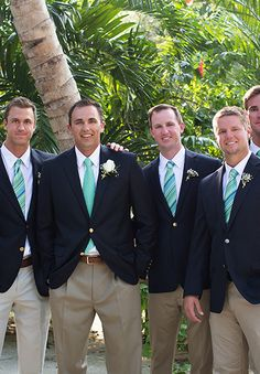 What a great look. Matching jackets, sandy trousers, white shirts and ties that have a colour link. Groom Ties, Groom And Groomsmen Attire, Bridesmaids And Groomsmen, Wedding Bridesmaids, Wedding Attire, Dream Wedding, Wedding Day, Wedding Dreams, Wedding Stuff