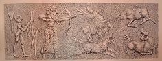 """Sello cilíndrico de Uruk. (3300-3000a.C.). Muestra la faceta de cazador del """"EN"""" (Rey-sacerdote), también su función en la guerra. El """"EN"""" representado con mayor tamaño. (prespectiva social). Esta imagen representa un ritual de la caza del toro salvaje, el rey lleva el atuendo ceremonial de sacerdote. Simboliza su dominio sobre las fuerzas de la naturaleza"""