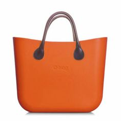 Mini O bag - Dark Orange with Brown Leather Short Handle