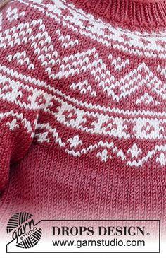 Baby Knitting Patterns, Baby Cardigan Knitting Pattern, Free Knitting, Drops Design, Drops Karisma, Magazine Drops, Baby Barn, Fair Isle Pattern, Fair Isle Knitting