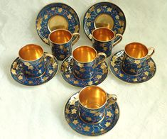 Vintage Art Deco Paladin E. Hughes China 6 Set Demitasse Can Cups in Case Gilt Enamel Decoration