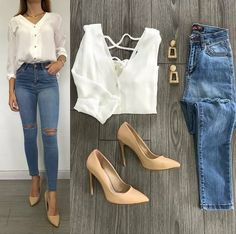 womens casual style with white buttoned - womens casual style with white buttoned Informations About womens casual style with white buttoned P - Casual Work Outfits, Business Casual Outfits, Mode Outfits, Classy Outfits, Trendy Outfits, Fashion Outfits, Mode Jeans, Casual Chic, Spring Outfits