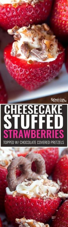 Cheesecake Stuffed Strawberries. This easy, no bake dessert recipe is a party favorite. Cream cheese, sugar and vanilla, topped with crunchy milk chocolate covered pretzels makes this bite sized treat sweet, salty and crunchy. Add this to your popular desserts board. Best Dessert Recipes, Fruit Recipes, Easy Desserts, Delicious Desserts, Yummy Food, Biscuits, Strawberry Cheesecake, Strawberry Cakes, Sweets