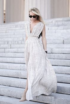 pleated maxi dress | happily grey