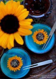 和菓子『ひまわり ~ マンゴーと紅茶の練り切り Nerikiri 』 Japanese sweets of the form of sunflower…