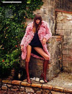 """French Twist"" Eugenia Volodina by Xavi Gordo for ELLE Spain August 2014"