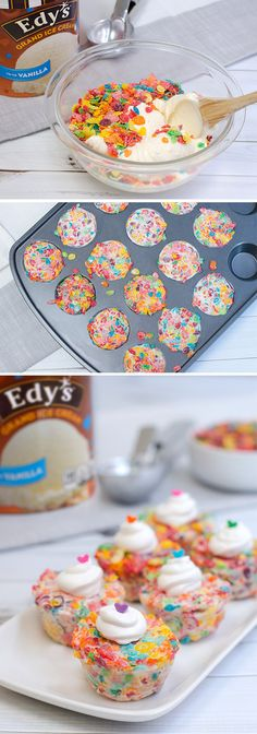 Edy's Funfetti Crunchers: This recipe for bite-sized party treats is colorful, crunchy and kid-approved! Simply mix Edy's Vanilla ice cream with fruity cereal, press into muffin tins and refreeze. Then, pop them out to enjoy a fun-tastic dessert that will turn any ordinary school night into a special family occasion!