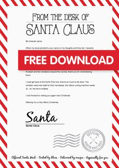 We're counting down the days until Santa magically appears! To make it extra special we've created a special personalised letter from Santa. Free Printable Santa Letters, Free Letters From Santa, Personalized Letters From Santa, Letter Templates Free, Letters For Kids, Free Printables, Christmas Letter From Santa, Christmas Letter Template, Letters