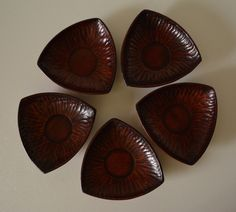 Set of 5 hand crafted wood tea saucers, vintage Japanese chataku saucers by StyledinJapan on Etsy