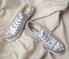 Sale  Crystal Converse Shoes wedding shoes party shoes spring shoes ,flattie,crystal flattie,crystal plimsolls have men size men shoes (reception shoes)