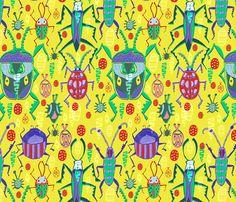 Beetling About fabric by slumbermonkey on Spoonflower - custom fabric