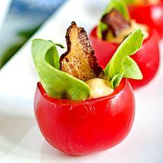 Mini BLT Cups: bacon and chipotle aioli inside little grape tomatoes