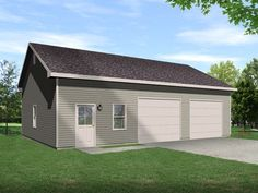 This over sized auto lift garage plan has ten foot walls with a ceiling that slopes up to twelve feet high. Room enough for an auto lift and work space around it.