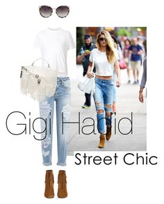 """""""Street chic look Gigi Hadid. denim and boots and bag and sunnies."""" by misnik ❤ liked on Polyvore featuring moda, Sacai, Dsquared2, Yves Saint Laurent, Proenza Schouler e Matthew Williamson"""