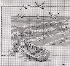 Cross Stitch Sea, Cross Stitch House, Cross Stitch Flowers, Cross Stitch Charts, Cross Stitch Patterns, Cross Stitching, Cross Stitch Embroidery, Embroidery Patterns, Cross Stitch Landscape