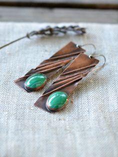 Long copper earrings  handmade artisan jewelry  copper by alery