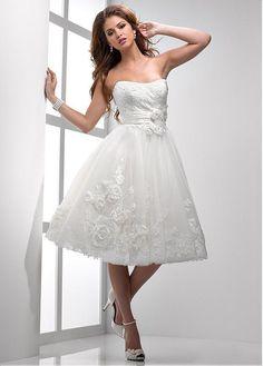 comprar Delicado tul escote corazón una línea de vestido de novia con apliques de encaje de descuento en Dressilyme.com