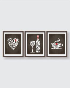 Kitchen decor - Kitchen wall art - Kitchen prints - Kitchen art - Kitchen art set - Kitchen poster - Housewarming gift - Wooden - Set of 3