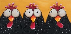 "Original acrylic painting canvas whimsical farm birds chicken coop 12 x 24""…"