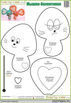 pattern for felt mouse Felt Animal Patterns, Stuffed Animal Patterns, Felt Diy, Felt Crafts, Sewing Crafts, Sewing Projects, Felt Mouse, Plush Pattern, Fabric Toys