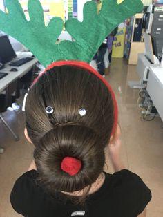 Reindeer Hair Idea! #holiday #hairspiration #hairideas #hairstyles #reindeer Reindeer Games, Hairstyles, Holiday, Beauty, Haircuts, Hairdos, Vacations, Hair Makeup, Holidays