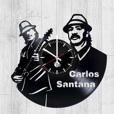 Carlos Santana Vinyl Record Handmade Wall Clock - VINYL CLOCKS Vinyl Record Clock, Old Vinyl Records, Stencil Art, Stencils, Handmade Wall Clocks, How To Make Wall Clock, Clock Art, Cool Walls, Vinyl Art