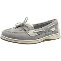 Sperry Top-Sider Women's Angelfish Perforated Charcoal Boat Shoe ($85) ❤ liked on Polyvore featuring shoes, loafers, sperry, deck shoes, charcoal shoes, sperry shoes and perforated shoes