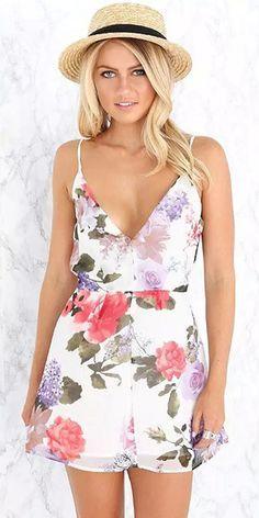 Sexy Backless Deep V-neck Floral Print Sling Dress