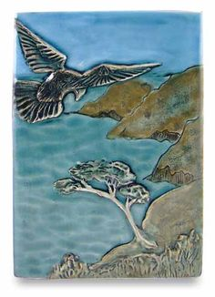 """""""No bird soars too high if he soars with his own wings."""" William Blake  Imagine Tile by Ephraim Faience Pottery"""