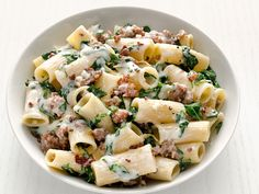 Rigatoni with Swiss Chard and Sausage recipe from Food Network Kitchen via Food Network