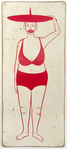 Margaret Kilgallen  Untitled, c. 1999  Acrylic on wood  17.25 x 7.5 inches