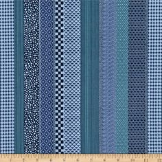 """Alexander Henry Indochine Hamada Stripe Indigo from @fabricdotcom  Designed by the DeLeon Design Group for The Alexander Henry Fabrics Collection 2012, this cotton print fabric is perfect for quilting, apparel and home décor accents. Colors include shades of blue. The stripe is vertical to the selvedge and repeats about every 16""""."""