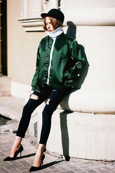 15 Ways to Wear a Light Flight Jacket. Tini Tani, shot in Tatarstan for Tini Tani, via Lookbook